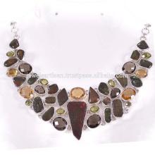 Natürliche Ammolith und Multi Edelstein 925 Sterling Silber Halskette