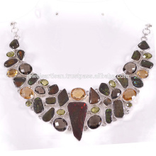 Ammolita natural y multi piedras preciosas 925 collar de plata de ley