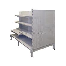 Multifunktions-3-Tier-Pegboard-Metall doppelseitiger Boden Stehendes Display Supermarkt Gondel Regal