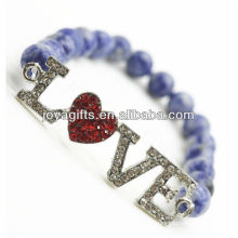 2013 Fashion Handmade gemstone friendship bracelet with diamante alloy