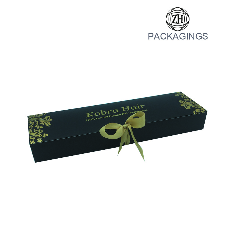 Luxury hair packaging box black hair extension box