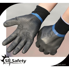 SRSAFETY Oil resistant gloves/industrial full coated black foam nitrile gloves sandy finish