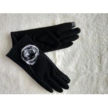 pele de coelho preto pompon Soft luvas de senhora touchscreen