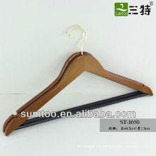 SUMTOO 1651 imition gold hook black BAR BROWN Percha de madera para chaqueta