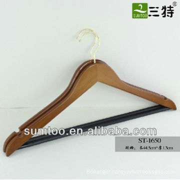 SUMTOO 1651 imition gold hook black BAR BROWN wood jacket hanger