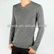 12STC0582 v cuello mens 100% algodón suéter