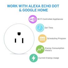 2019 FCC CE Approval Alexa Google Home Wifi Socket Outlet Smart Plug 10A Us Standard Wifi Smart Home Devices