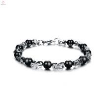 Bracelet médical en acier inoxydable bon marché, bracelets imperméables, bracelet de perle