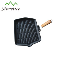 Vegetable Oil Foldable Wooden Handle Cast Iron Griddle Pan