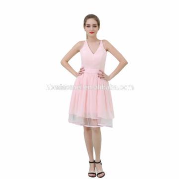 Vestido de fiesta de tarde de las muchachas grandes cortos del último color de la fiesta del desgaste mini V