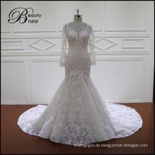 Spitzen-Hochzeits-Kleid mit langen Ärmeln