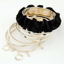 Moda Fabric Multilayers Lace Bangles Pulseiras Pearl Bracelets BA42