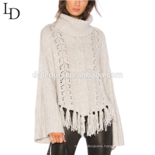 Latest design white bell sleeve tassel pullover sweater turtleneck sweater for women