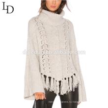 Последние дизайн белый колокол рукав кисточкой свитер пуловер свитер для женщин