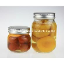 500 ml de bocaux ronds en verre mazamis avec couvercles en argent