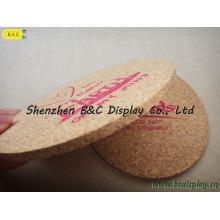 Vente totale de liège pur avec logo impression en soie rondes Cork Cork Coaster avec SGS (B & C-G102)