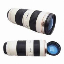 Camera Thermos Lens Plastic Mug with Transparent Lid, 480mL, 320g, Keeps Warm, Preserves Heat