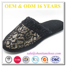 Nova moda laço preto e lantejoulas chinelo interior superior para as mulheres