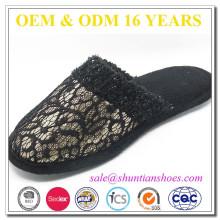 Новые модные черные кружева и блестками верхний закрытый тапочки для женщин