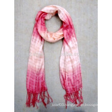 Fashion ladies 100% viscose tie dye ombre scarf