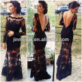 2014 New Arrival Sexy Black V Back Mermaid See Through Long Sleeve Lace Evening Dress