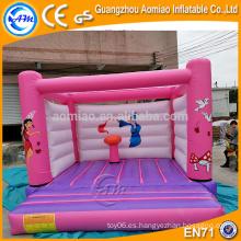 PVC princesa rosa castillo / inflable casa de la gorila, inflable burbuja gorila bebé trampolín