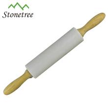 Nuevo rodillo de mármol blanco al por mayor con mango de madera