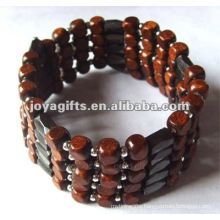 Magnetic Wood Beaded wrap Bracelets & Necklace 36""