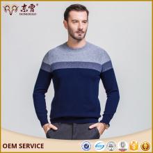 Navy blue 100 % sriped woolen round neck collar sweater for men