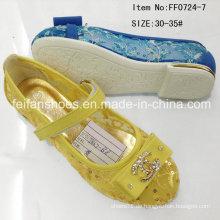 Goldene Kinder Prinzessin Schuhe Flache Schuhe Mädchen Schuhe (FF0724-7)