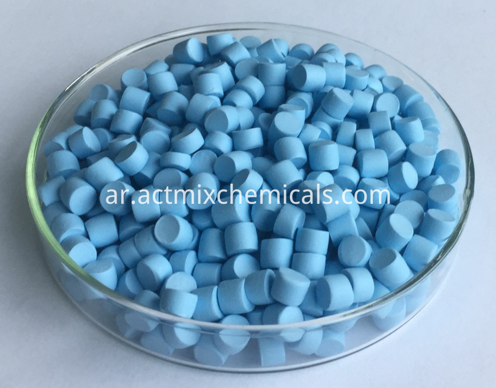 Actmix®ZDMC-75 Zinc dithiocarbamate stained light-blue
