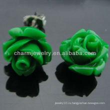 2013 мода Коралловые вырезанные зеленые розы цветок Стад серьги EF-011