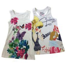 Moda roupas infantis em menina sem mangas t-shirt colete (sv-018-023)