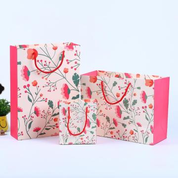 Logo Printing Paper Bag With Back Grosgrain Ribbon