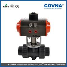 2 inch pneumatic actuator pvc ball valve double union air pvc valve