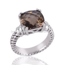 Великолепная стерлингового серебра дымчатый кварц квадратная подушечка комплект ювелирных изделий драгоценной камня