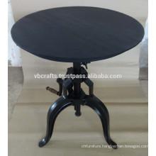 Coffee Crank Table Round Metal top black color