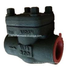 API602 Válvula de retención de pistón NPT de extremo de rosca A105 de acero forjado