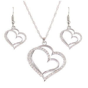 Silver Crystal Women Party Necklace Sets