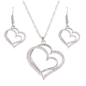 Conjuntos de collar de fiesta de cristal plateado para mujer