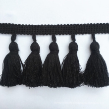 Vente directe frange à glands en coton noir de 7 cm de largeur