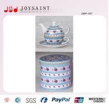 Pote de chá de porcelana velha China com Pires