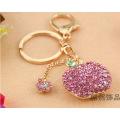 Creative new Crystal Apple pendant Keychain full rhinestone metal key chain bag ornaments for women wholesale key ring
