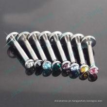 Cor mista de cristal de pedra rosca interna Labret Anel de aço Cirúrgico 316L moda jóias corpo