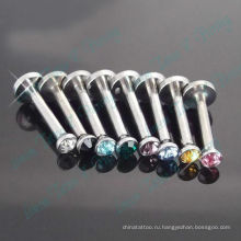 Смешанный Цвет камень кристалл Лабретка Внутренняя резьба кольцо Хирургическая сталь 316L ювелирные изделия тела