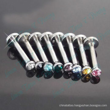 Mixed Color stone crystal internal thread Labret Ring 316L Surgical steel Fashion body jewelry