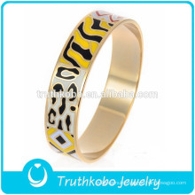 Fashion Rode Gold Plated Bangle Unique Colorful Multi Colour Epoxy Jewelry Gold Enamel Bangle Stainless Steel Bangle Wholesale