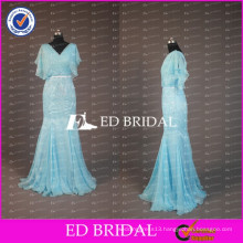 ED Bridal Elegant V Veck Poet Short Sleeve Mermaid Long Chiffon Mother Of The Bride Dress With Sash 2017