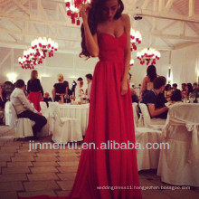 Free Shipping Dresses Party Dress Red Prom Dress Chiffon Sweetheart Floor Length Red Latest Design Evening Gown DEW8
