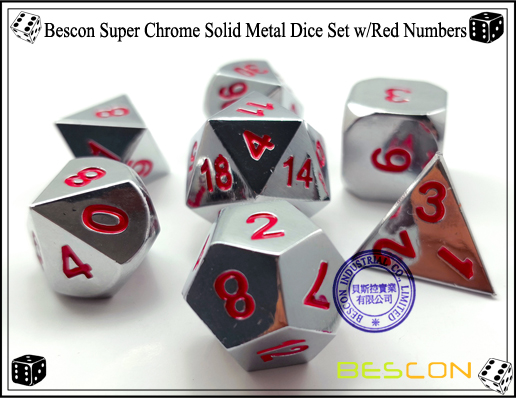 Bescon Super Chrome Solid Metal Dice Set with Red Numbers-2